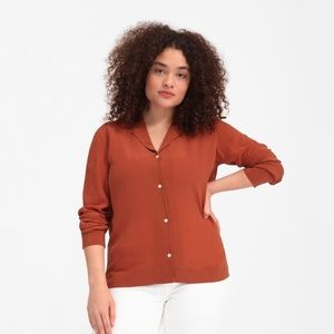 EVERLANE Rust Color Silk 100% Silk Notch Collar